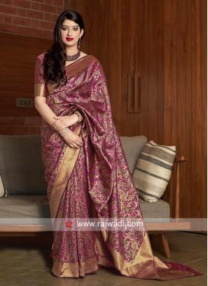 Hot Pink Banarasi Silk Saree