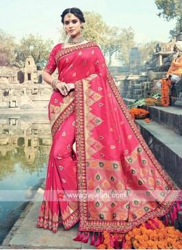 Hot Pink Banarasi Silk Sari with Tassels