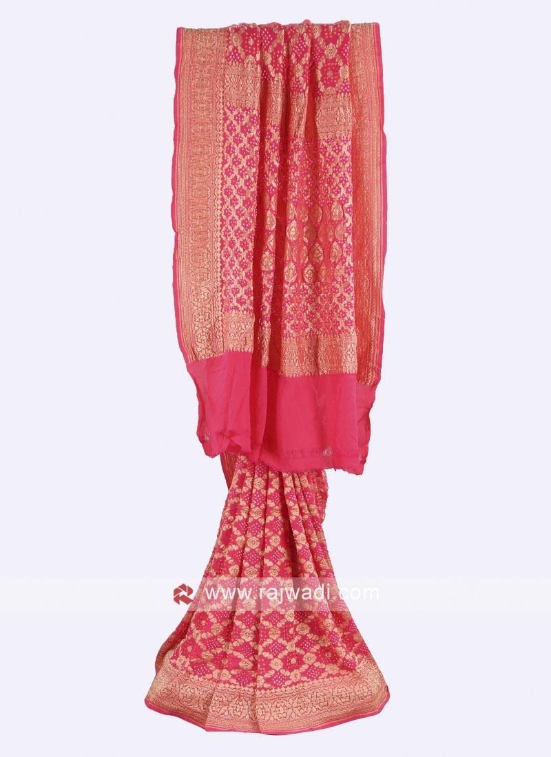 Hot pink chiffon saree with blouse