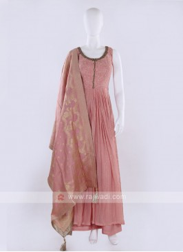 Hot pink color Palazzo Suit with dupatta