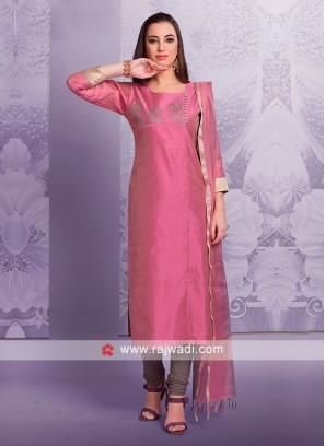 Hot Pink Cotton Silk Salwar Suit