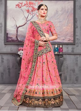 Hot Pink Flower Work Lehenga Set