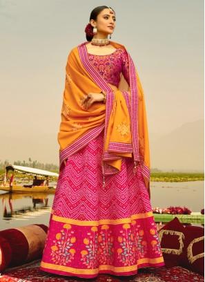 Hot Pink Mehndi Silk Readymade Lehenga Choli