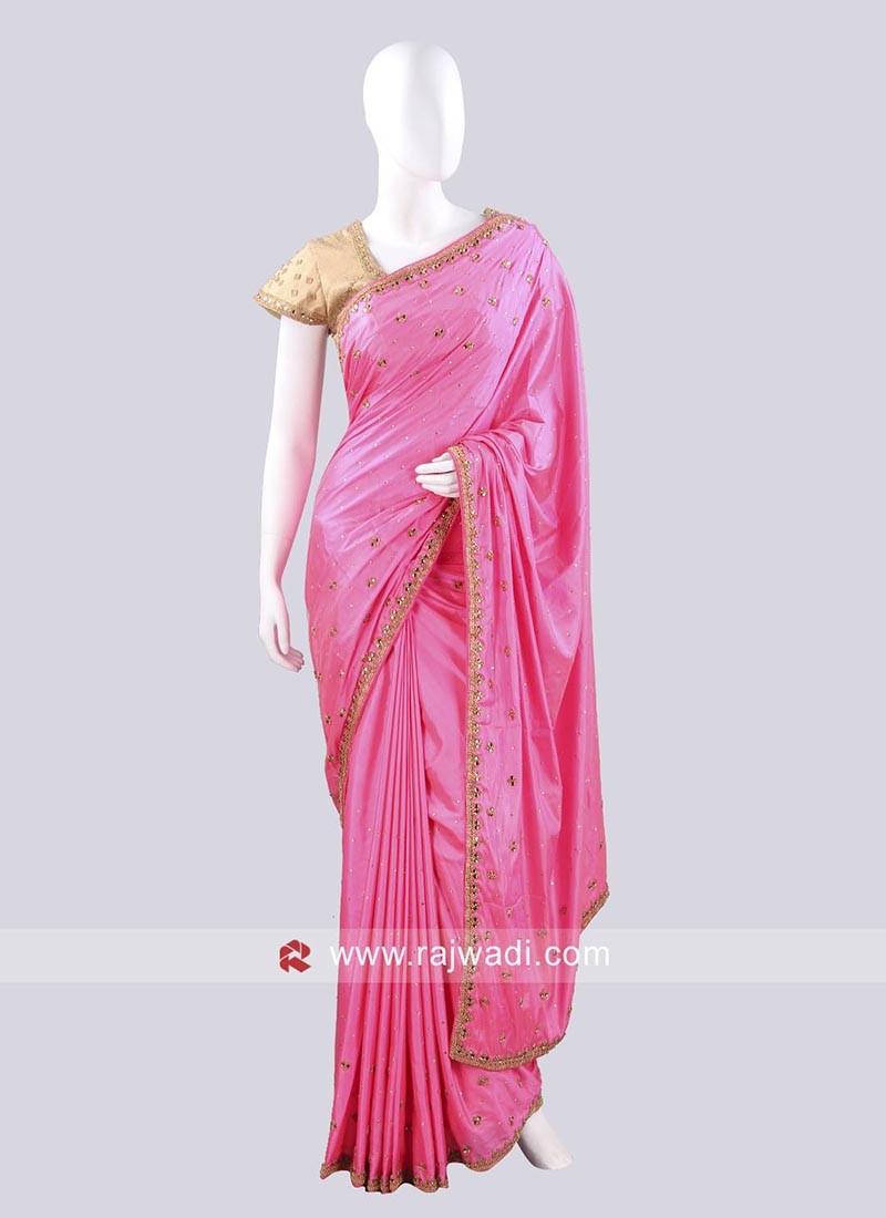 Hot Pink Party Wear Saree