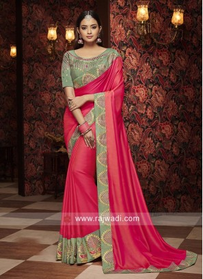 Hot Pink Saree with Contrast Border