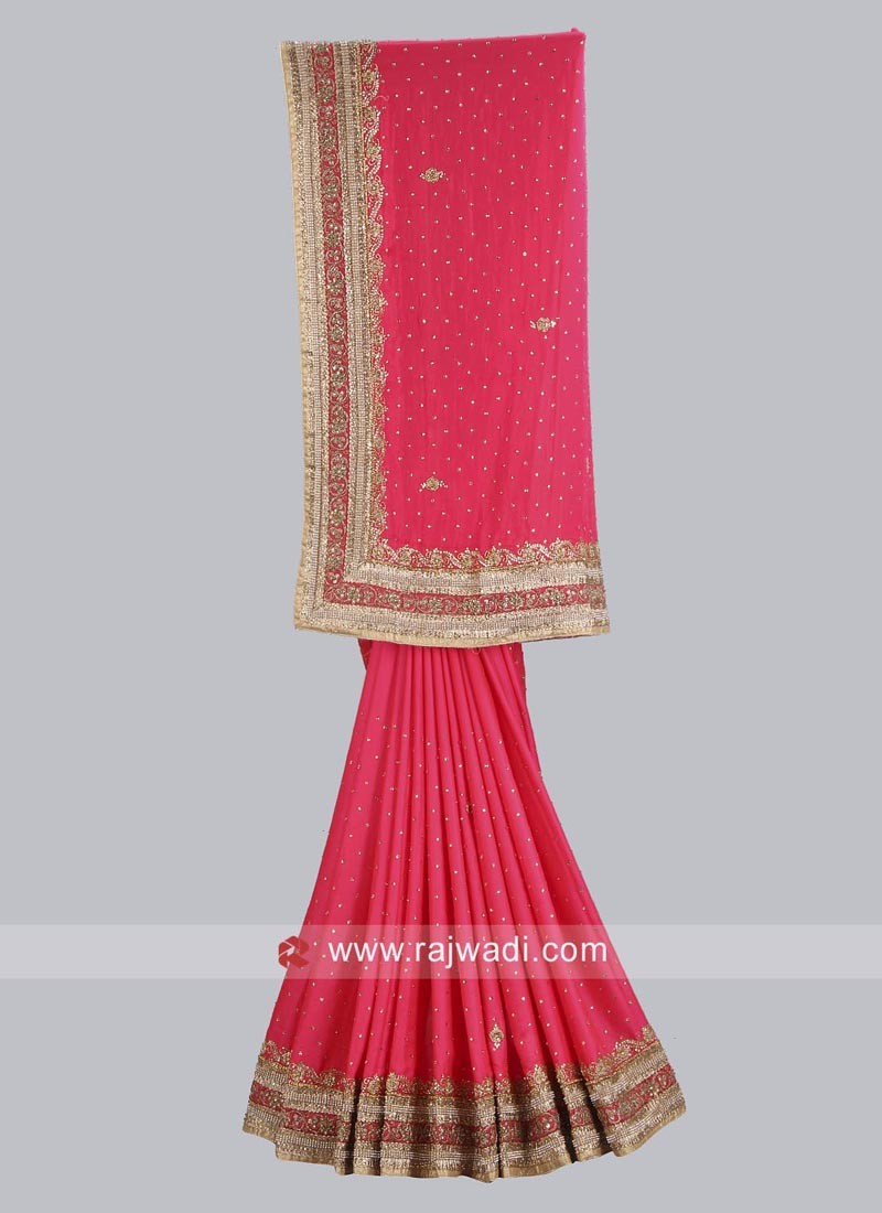 Hot Pink Satin Silk Saree