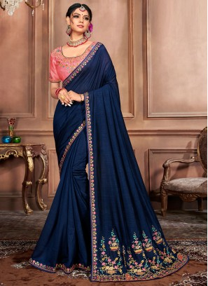 Hypnotic Navy Blue Embroidered Traditional Designer Saree