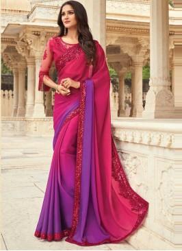 Hypnotizing Embroidered Silk Shaded Saree