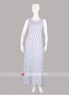 Ice Blue Color Printed Maxi Dress