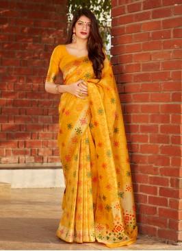 Imperial Silk Yellow Traditional Designer Saree