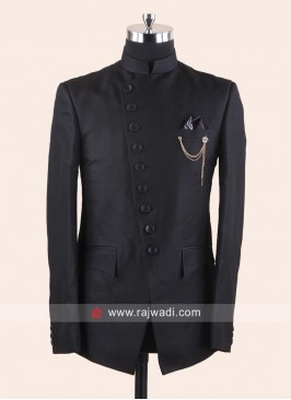 Imported Black Color Jodhpuri Suit