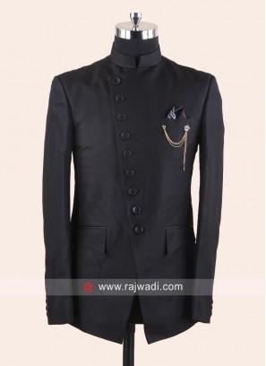Imported Black Color Jodhpuri Suit