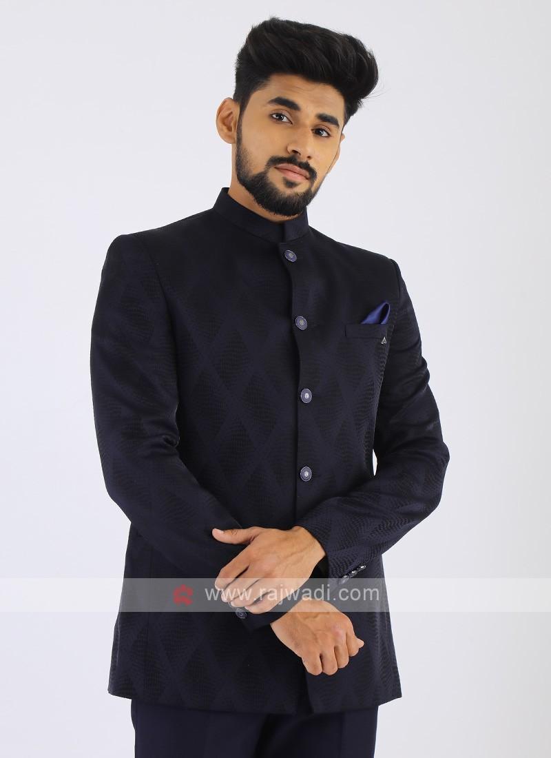 Imported Dark Blue Jodhpuri Suit