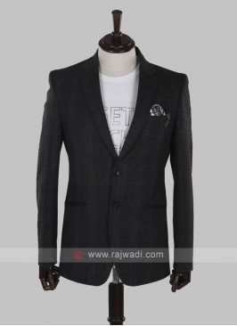 imported dark grey checks blazer