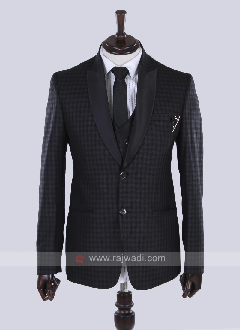 imported fabric black checks suit