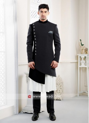 Imported Fabric Black Indo Western