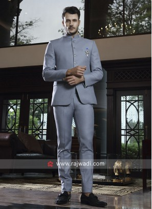 Imported Fabric Silver Jodhpuri Suit