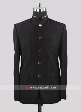 Imported Fabric Black Jodhpuri Suit