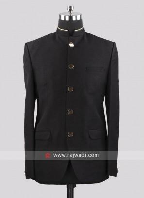 Imported Fabric Black Jodhpuri Suit