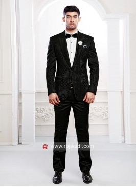 Imported Fabric Black Party Wear Suit