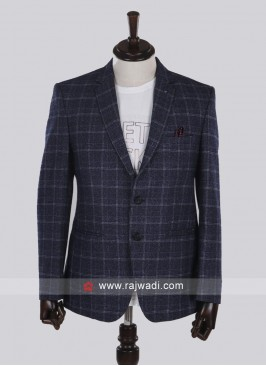 imported fabric blue checks blazer