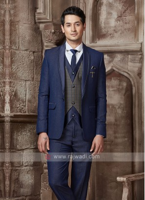 imported fabric blue suit