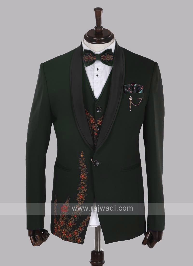 imported fabric bottle green suit