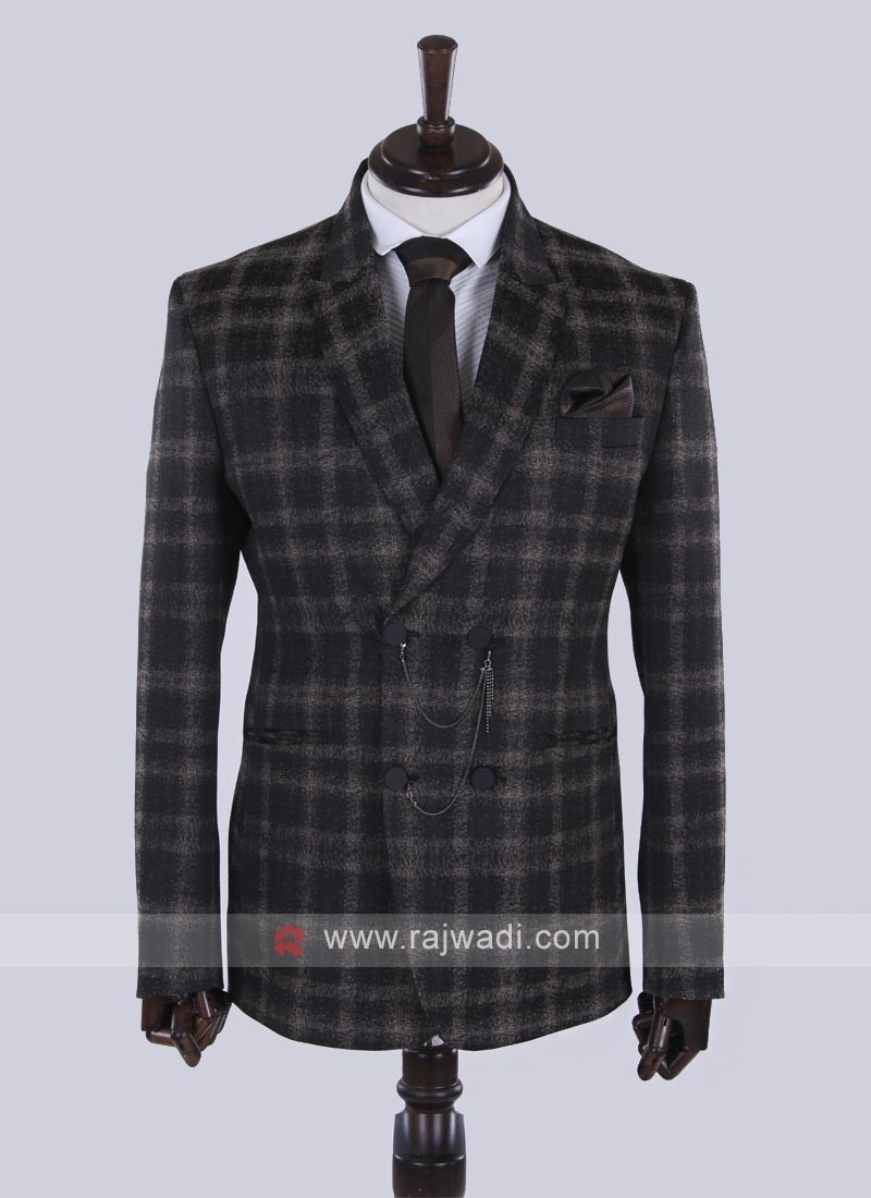 imported fabric carbon black checks suit
