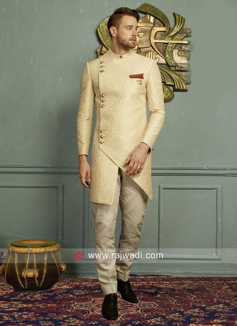 Imported Fabric Cream Indo Western
