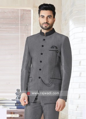Imported Fabric Dark Grey Jodhpuri Suit