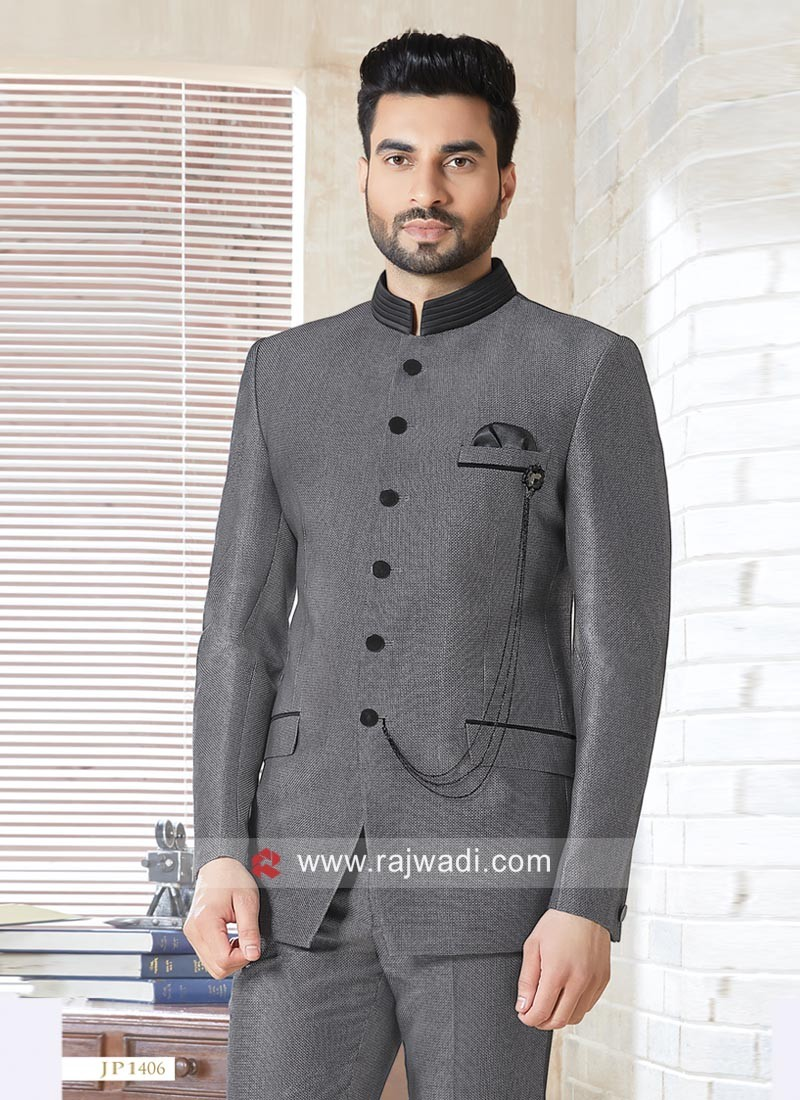 Imported Fabric Dark Grey Jodhpuri Suit