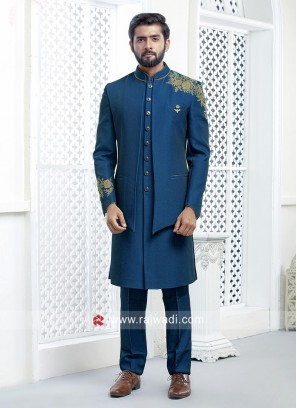 Imported Fabric Royal Blue Indo Western