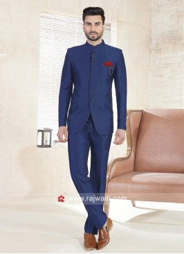 Imported Fabric Royal Blue Jodhpuri Suit