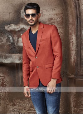 imported fabric rust color blazer