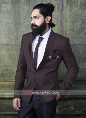 Casual Wine Color Suit