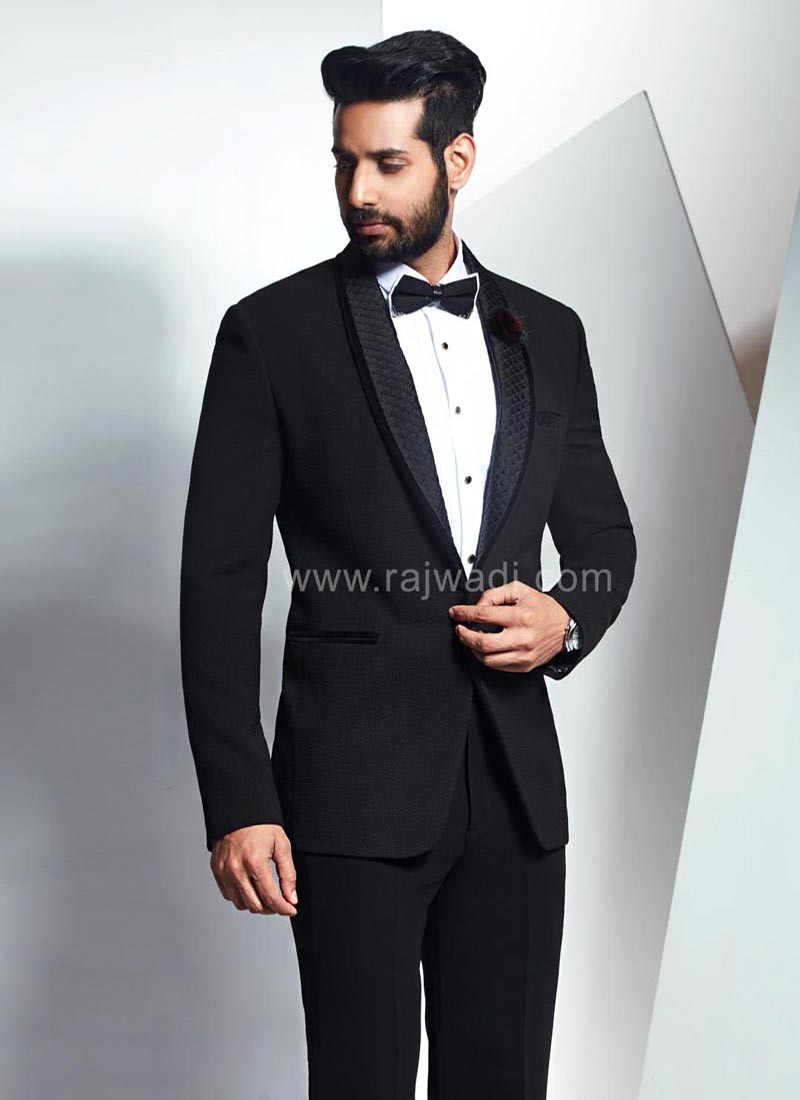Imported Fabric Suit in Black