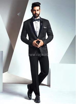 Imported Fabric Suit with Black Velvet Lapel