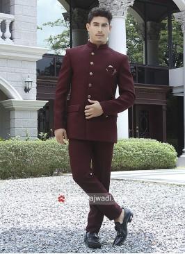 Maroon Emboss Fabric Jodhpuri Suit