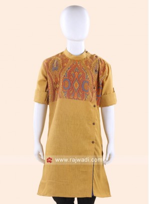Round Neck Golden Kurta