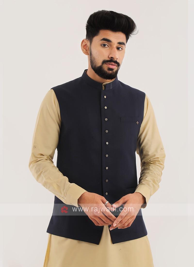 Imported Nehru Jacket In Blue