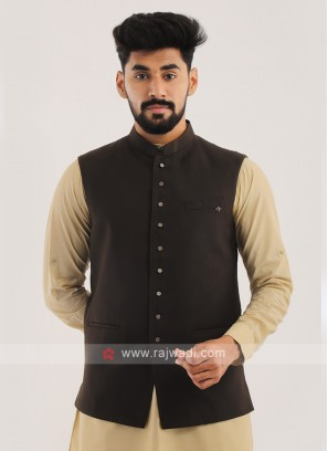 Imported Nehru Jacket In Brown
