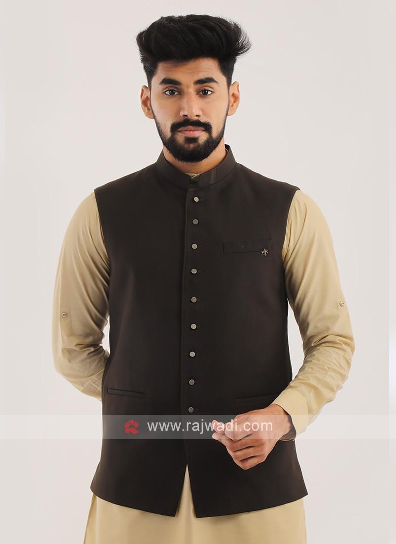 Imported Nehru Jacket In Brown