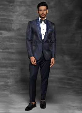 Imported Printed Navy Blue Suit