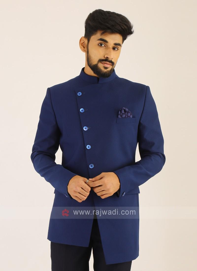 Imported Royal Blue Jodhpuri Suit