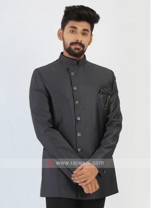 Imported Silk Grey Jodhpuri Suit