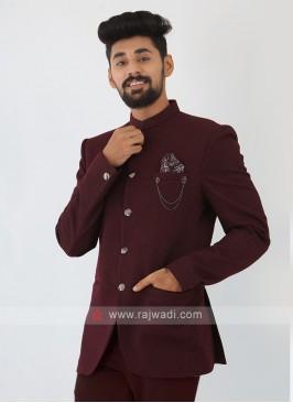 Imported Wine Jodhpuri Suit