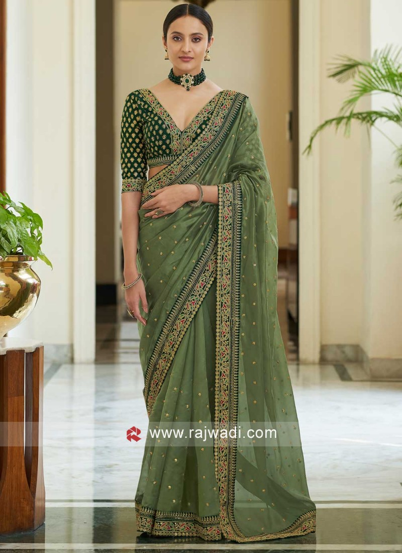 Imposing Green Sequins Classic Saree