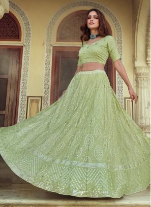 Impressive Green Sangeet Lehenga Choli