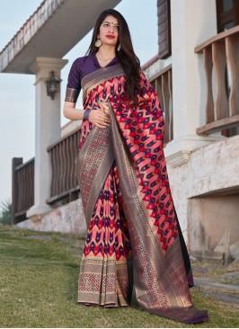 Incredible Multi Colour Banarasi Silk Designer Saree