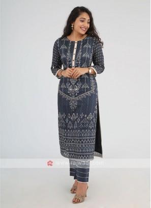 Indigo Color Printed Kurti With Trouser